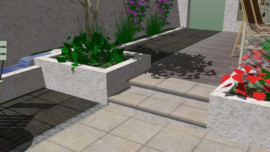 Minimalist white garden design Rogerstone GardensCardiff Garden