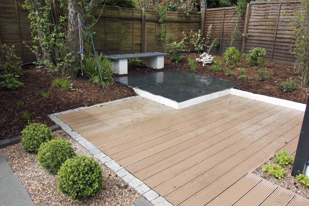 Modern materials rogerstone gardens cardiff garden for Modern decking materials